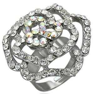 Shop   Free Size Fashion Crystal Rose Flower Cocktail Ring w/ CZ & Gem