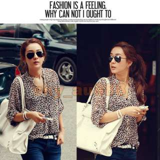 Charming Womens Leopard Print Shirt 3/4 Sleeve Tops Button Down T