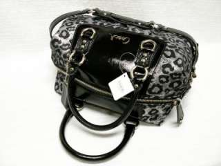 NWT COACH ASHLEY OCELOT SATEEN SATCHEL PURSE BAG 15520 GRAY + BLACK