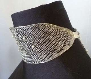 Vtg Sterling Silver Wide MESH Wire CHOKER Collar Necklace PEARLS