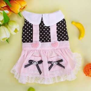 Pink and Black Pet Dog Dress Skirt Apparel Clothes w/ Dots