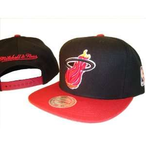 Miami Heat Mitchell & Ness Black & Red Adjustable Snap Back Baseball
