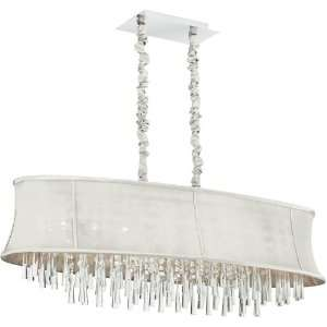 Dainolite 8 Lite Polished Chrome Clear Crystal Pendant With Silk Glow