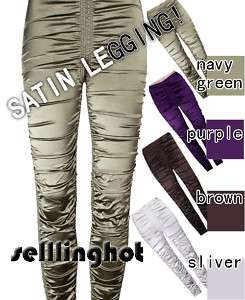 NWT Stretch Satin Shiny WOMENS Leggings Pants 5 COLORS