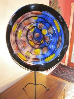 Large hand blown art glass display plate 23 w/ wall mount w/ display