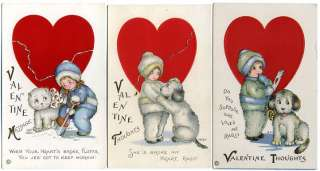 5Post Cards Valentines Series Girls With Dogs & Cats