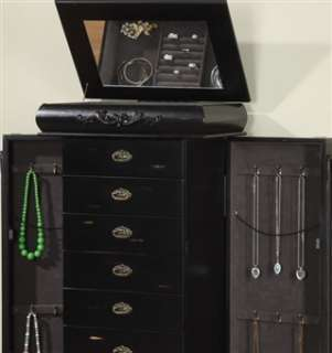 Tall Black Wooden Jewelry Cabinet Armoire 8 Large Drawers & Necklace