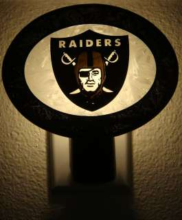 OAKLAND RAIDERS LOGO ART GLASS NIGHT LIGHT NEW NFL NITE LIGHT
