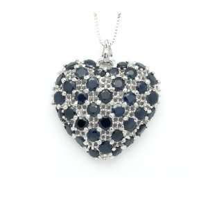 Natural Sapphire Pendant With 18k White Gold Plating 925
