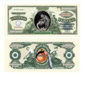 Set of 100 Zodiac Aquarius One Million Dollar Bill Toys & Games