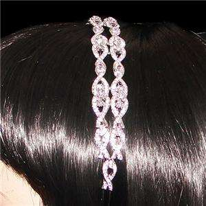Bridal 2 Rows Tiara Head Hair Band w/ Swarovski Crystal