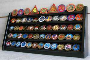Row Military Challenge Coin Display Rack Holder Stand Case, COIN5 BL