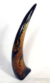 DRAGON sculpture carved buffalo black horn H1a