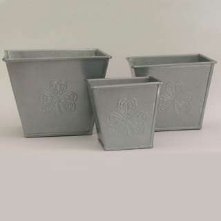 Set of Three Irish Celtic Shamrock Metal Planters