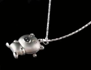 New Silver Pig Pocket Quartz Fashion Necklace Pendant Watch Clock Kids