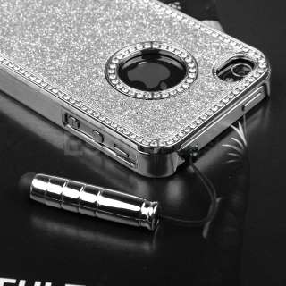 4G Black Chrome Luxury Steel Skin Cover Case+Stylus+Screen Film