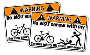 Funny Mountain Bike Warning Sticker Decal Bicycle
