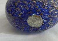 Vtg Pair Murano Art Glass Fratelli Toso Blue/Gold Birds Lovebirds Dove