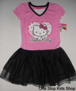 HELLO KITTY Girls 5 6 6X Outfit Set DRESS Skirt TUTU Shirt