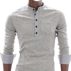 Doublju Mens Casual Button Henley Shirts GRAY (AT118