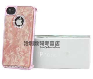 Pink Marble Veins Swarovski Diamond Crystal Hard Case Cover For iphone