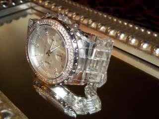 Genuine MICHAEL KORS Clear CHRONOGRAPH Womens Watch CRYSTAL Bezel