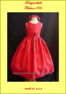 NWT RED FLOWER GIRL CHRISTMAS BABY PARTY WEDDING DRESS