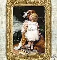 Girl Dog Dollhouse Picture Dolls House Picture Mini Art