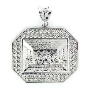 Mens Iced Out Hip Hop White Gold Plated Crystal Octagon Last Supper