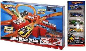 Hot Wheels CRISS CROSS CRASH TRACK SET *w/5 EXTRA CARS*