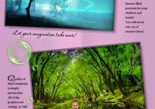 MAGICAL WOODS Photoshop Template Digital Backgrounds Backdrops Kids