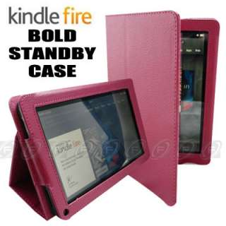 Hot Pink Leather Folio Case Cover for  Kindle Fire 7 Tablet