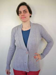 Vtg 70s Hippie Boho Grey WOOL Fitted Sweater Cardigan