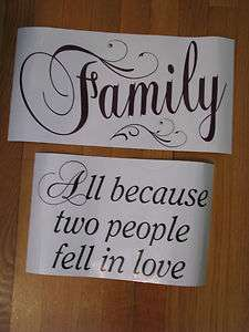 Wall Decal Stickers Words FAMILY   ALL BECAUSE TWO PEOPLE FELL IN LOVE