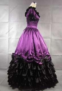 Colonial Civil War Satin Ball Gown Dress Prom Punk Steampunk 109 L