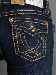 LA IDOL Dark Blue Denim Brown Stitch Boot Cut Jeans