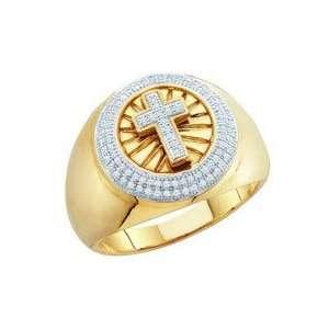 Mens Diamond Cross Ring 10k Yellow Gold Fashion Band (0.30