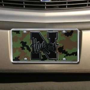 NCAA Nebraska Cornhuskers Camo Metal License Plate  Sports
