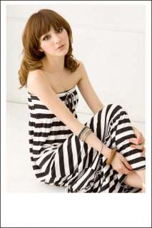 New Korea Womens Casual Black Stripes Long Tube Dress