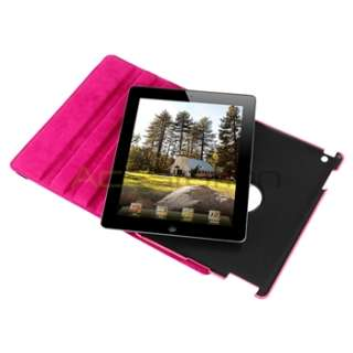 Pink 360 Rotating Magnetic Swivel Stand Leather Case Cover For iPad 2