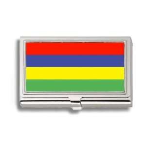 Mauritius Mauritian Flag Business Card Holder Metal Case