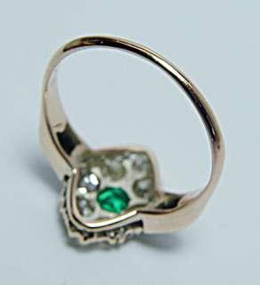 Antique Gem Color Emerald Old Mine Cut Diamond 14K Gold Ring Estate