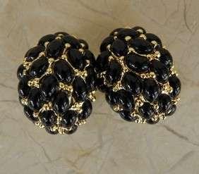 Kenneth Jay Lane Earrings Big Black Cluster