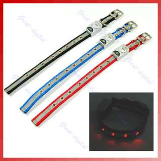 LED Flashing Light Pet Dog Nylon Safety Collar Belt