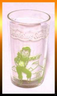 Vintage HOWDY DOODY JELLY GLASS Green & White RARE *LN*