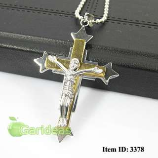 Silver Stainless Steel Jesus Cross Chain Pendant Necklace Item ID3378