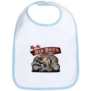 Baby Bib Sky Blue Toys for Big Boys Lady on Motorcycle