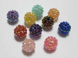 50 Pcs Mixed Colour Acrylic Pave DISCO Ball Beads 14mm Spacer