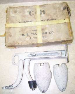 ANTIQUE CH SHOE STORE DISPLAY HOLDER + BOX BL MARDER