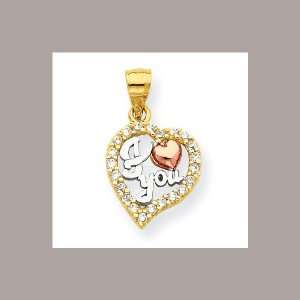 Textured back 10k Two tone Gold I Love You CZ Heart Pendant 1.25 gr.